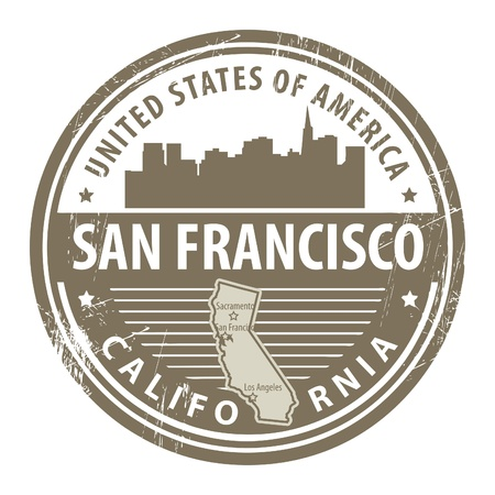Grunge rubber stamp with name of California, San Francisco Vector