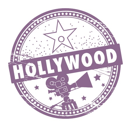 Grunge rubber stamp with the name of Hollywood written inside the stamp Vector
