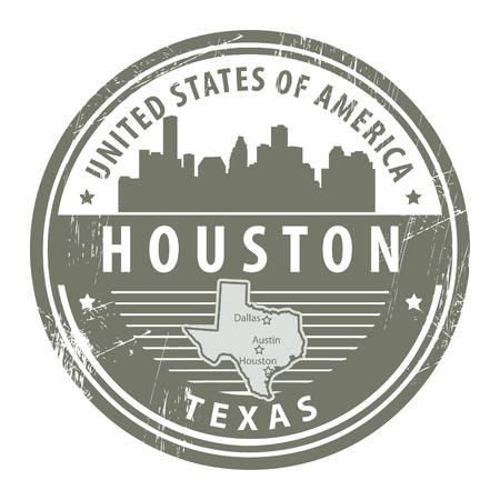 houston: Grunge rubber stamp with name of Texas, Houston