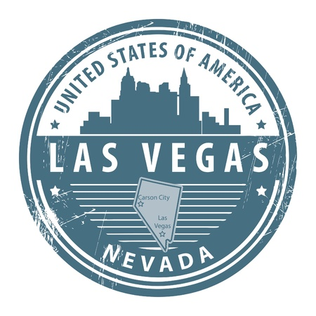 vegas sign: Grunge rubber stamp with name of Nevada, Las Vegas