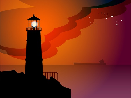Lighthouse silhouette at night Stock Vector - 14937026