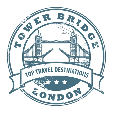 london tower bridge: Grunge rubber stamp with London, Tower Bridge inside Illustration