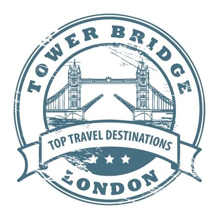 london tower bridge: Grunge rubber stamp with London, Tower Bridge inside Illustration