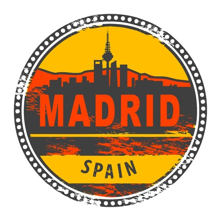 Grunge rubber stamp with the words Madrid, Spain written inside the stamp Vector