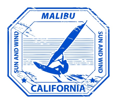 surfer silhouette: Grunge rubber stamp with name of Malibu, California Illustration