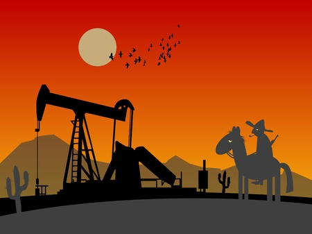 Oil rig silhouettes and lonely rider Vector