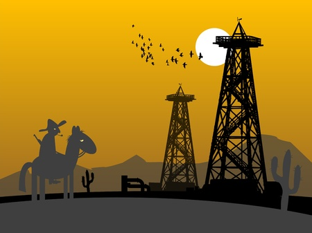 conventional: Oil rig silhouettes and lonely rider