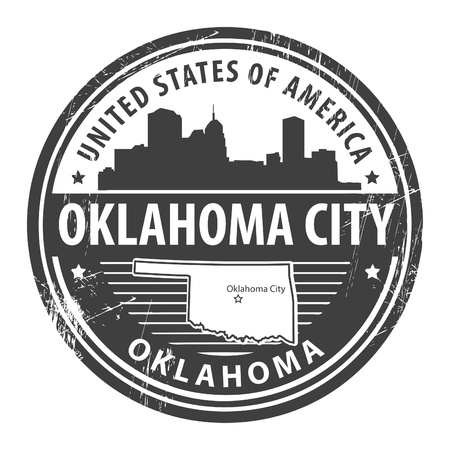 Grunge rubber stamp with name of Oklahoma City Vector