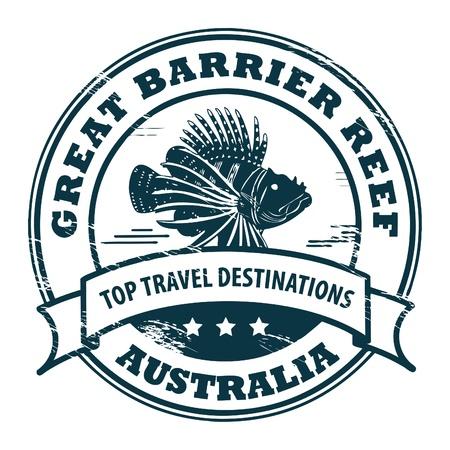 Grunge rubber stempel met vis en tekst Great Barrier Reef Vector Illustratie