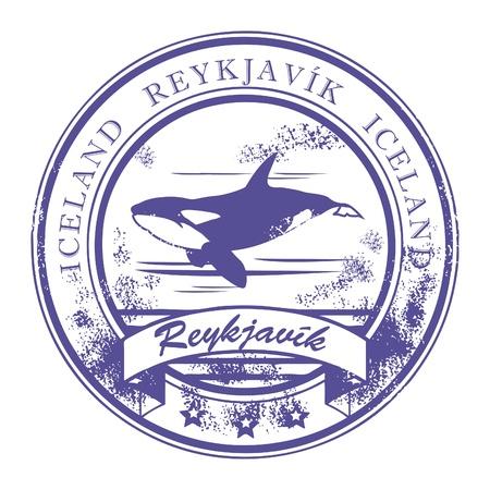 reykjavik: Grunge sello de goma con Orca y palabras Reykjavik, Islandia interior