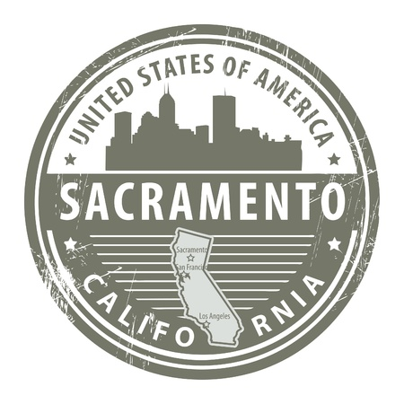 Grunge rubber stamp with name of California, Sacramento Vector