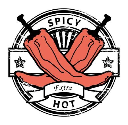 hot asian: Шероховатый штамп с Pepper формы и слова горячей пряный написано внутри печатью Иллюстрация