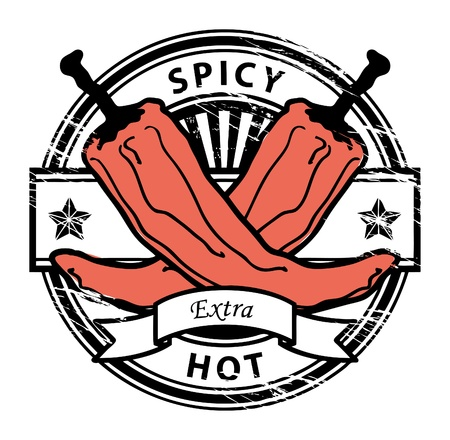 hot sauce: Grungy rubber stamp with Pepper shape and the words hot spicy written inside the stamp Illustration