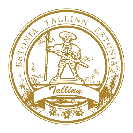 estonia: Grunge rubber stamp with Old Thomas and the words Tallinn, Estonia inside