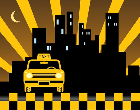 black cab: Urban taxi background Illustration
