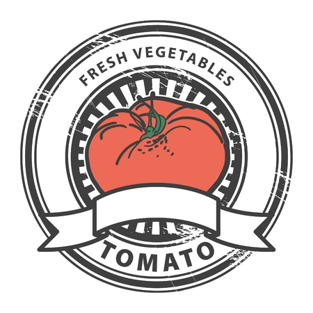 Grungy rubber stamp with Tomato shape and the words Tomato, Fresh Vegetables written inside the stamp Vector