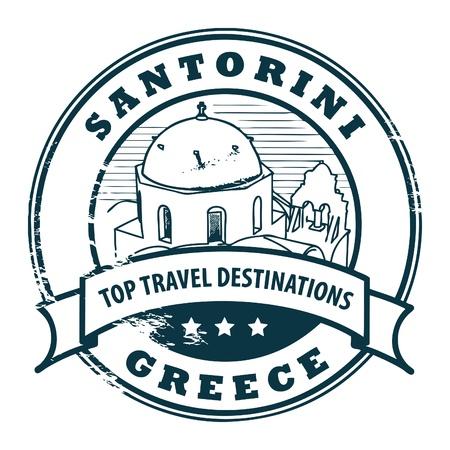 santorini: Grunge rubber stamp with Santorini, Greece