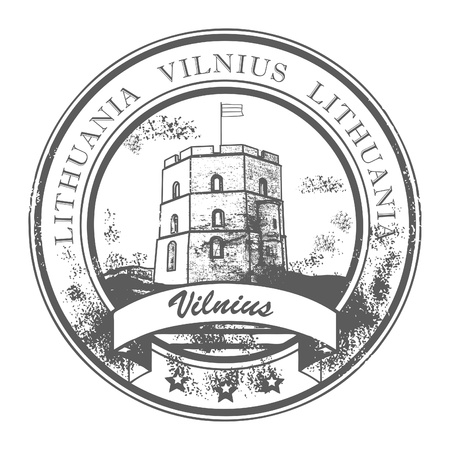 baltic: Grunge rubber stamp with Gediminas castle and the words Vilnius, Lithuania inside Illustration