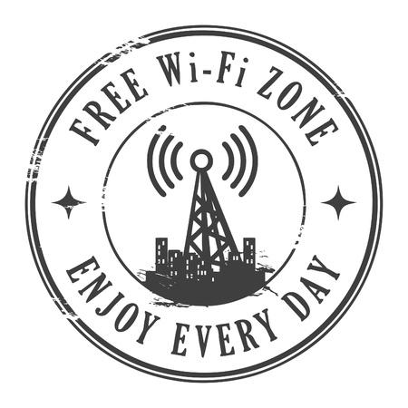portable radio: Grunge sello de goma con el texto libre zona wifi escrito dentro