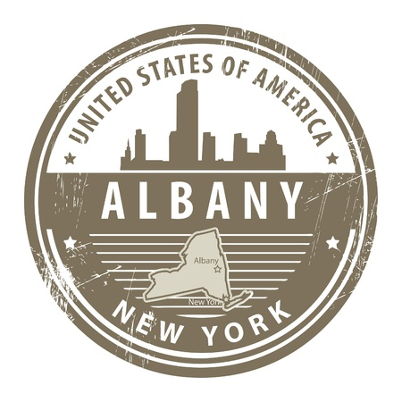 Grunge rubber stamp with name of New York, Albany Stock Vector - 14975918