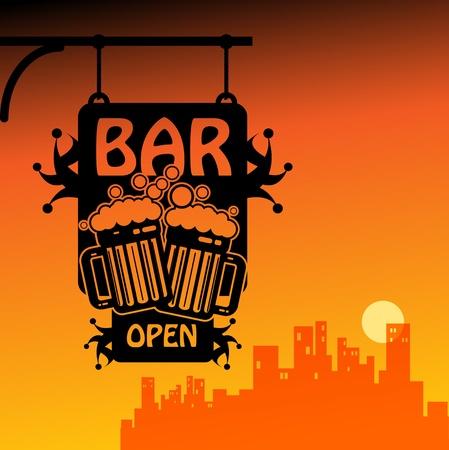 night bar: Bar abierto Vectores