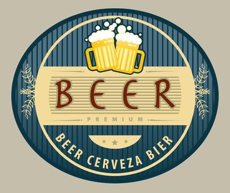 Etiqueta con jarras de cerveza y la cerveza texto escrito dentro