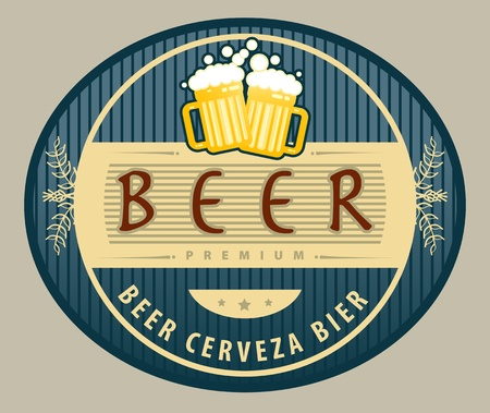 Label with beer mugs and the text Beer written inside Vector