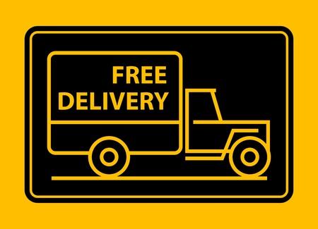 Delivery truck with text free delivery Vector