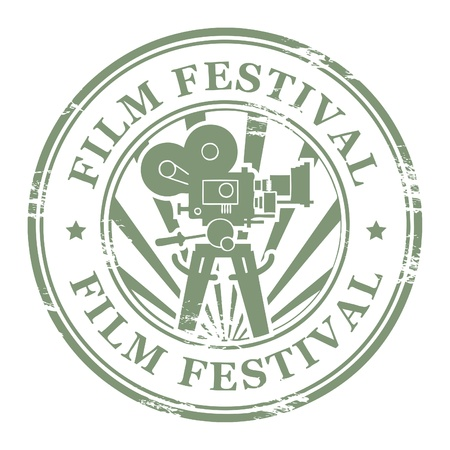 film camera: Abstract grunge stamp with movie camera and the word Film Festival