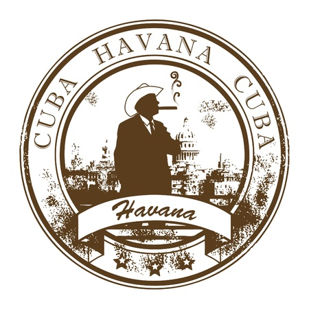 havana cigar: Grunge rubber stamp with Cuba, Havana inside