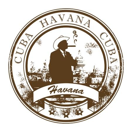 cigarro: Grunge sello de goma con Cuba, La Habana dentro
