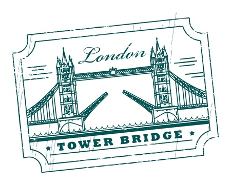 Grunge rubber stamp with Tower Bridge, London, inside Vector