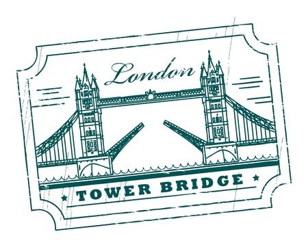 tower bridge: Grunge rubber stamp with Tower Bridge, London, inside Illustration