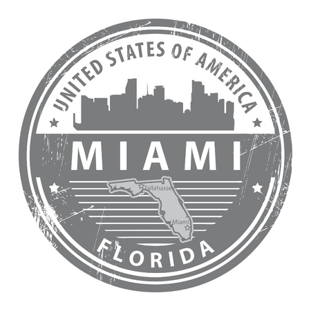 Stamp with name of Florida, Miami Vector