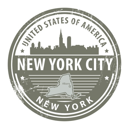 new york map: Grunge rubber stamp with name of New York, New York City Illustration