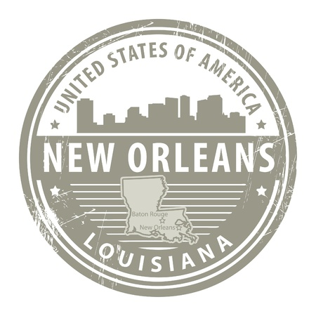 louisiana state: Stamp with name of Louisiana, New Orleans Illustration
