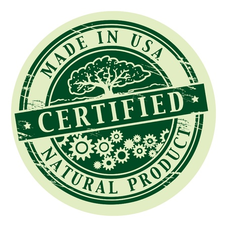 Grunge rubber stamp with the words Natural Product, Certified inside Vector