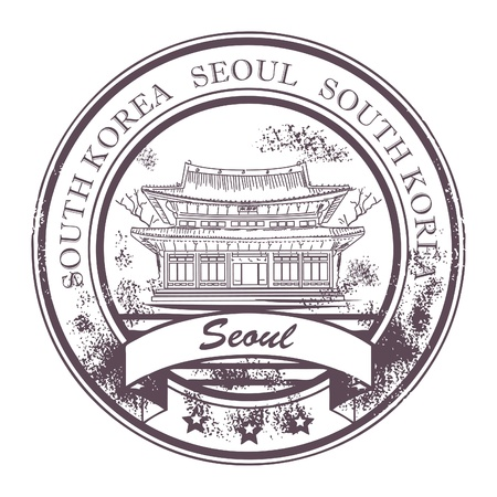 Grunge Stempel mit dem Schiff und dem Wort Seoul, Südkorea Inneren