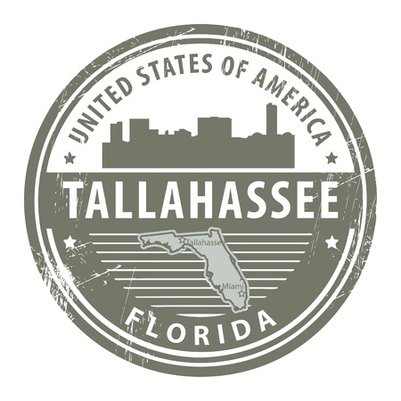 tallahassee: Stamp with name of Florida, Tallahassee Illustration