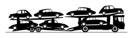 transporteur: Camion transporteur de voitures livrer nouvelle auto Illustration