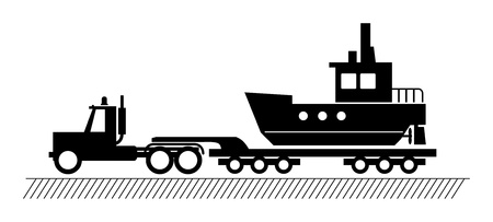 Truck delivers the boat Stock Vector - 14975900