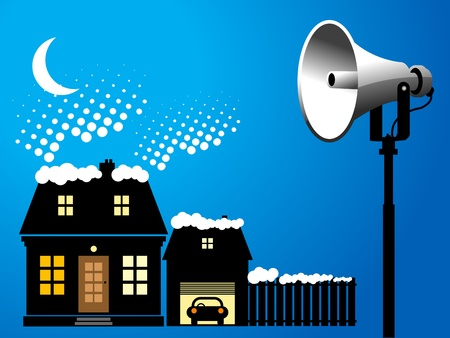 Megaphone and house, winter background Vector