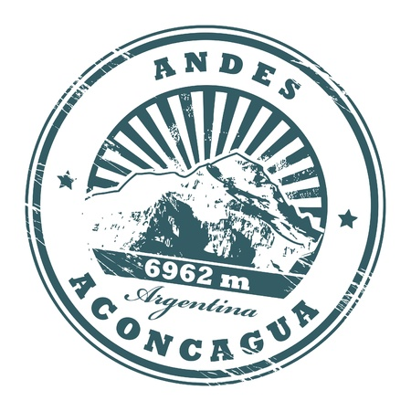 andes mountain: Grunge rubber stamp with the Mount Aconcagua, highest mountain in the Americas Illustration
