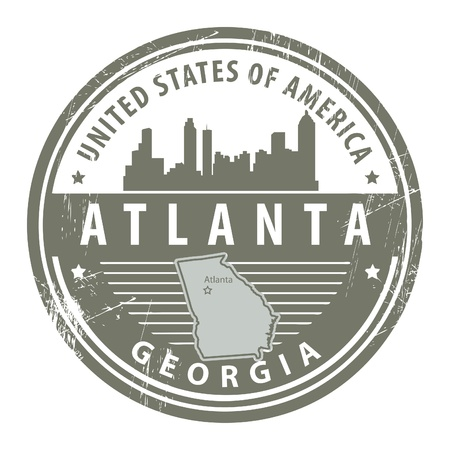 atlanta: Grunge rubber stamp with name of Georgia, Atlanta
