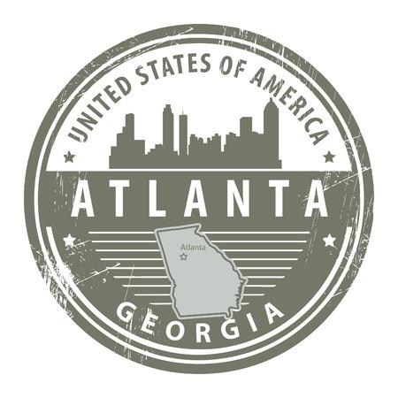old stamp: Grunge rubber stamp with name of Georgia, Atlanta