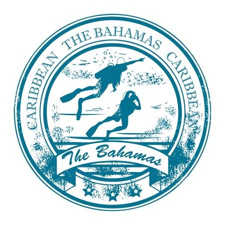 scuba diving: Grunge rubber stempel met de Bahamas, het Caribisch gebied binnen
