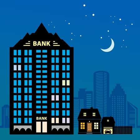 Bank and small house Buildings Vector