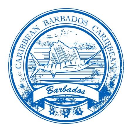 pez vela: Grunge sello de goma con Barbados interior