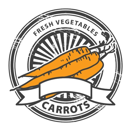 Grungy rubber stamp with Carrots shape and the words Carrots, Fresh Vegetables written inside the stamp Stock Vector - 14976067