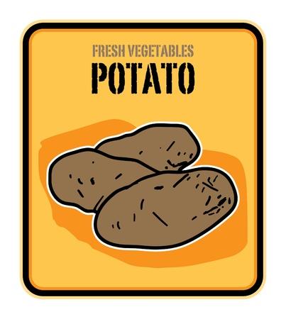 Vegetables label, potato Vector